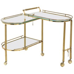 Midcentury Articulating 3-Tier Demilune Reeded Brass Bullet Bar Cart on Castors