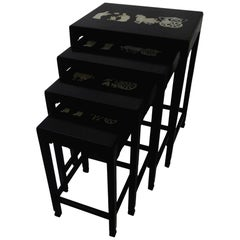Midcentury Asian Influence Nesting Tables, Set of Four