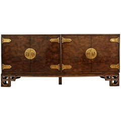 Midcentury Asian Modern Mastercraft Amboyna Burl Three-Piece Credenza