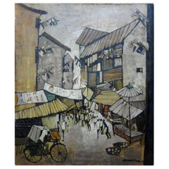 Midcentury Asian Modern Oil on Canvas, Artist Signed