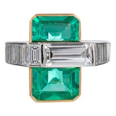 Midcentury Asymmetrical Emerald and Diamond Ring