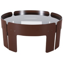 Midcentury Attributed to Salocchi Round Brown Plastic Coffee Table, Italy, 1970s