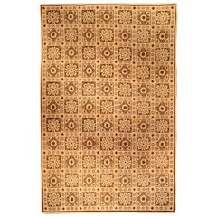 Midcentury Aubusson Carpet in Brown and Beige