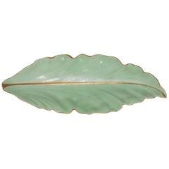 Midcentury Austrian Porcelain Oblong Leaf Dish