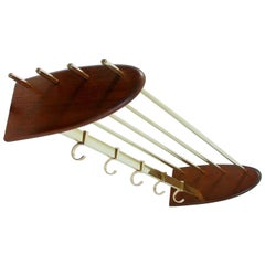 Midcentury Austrian Teak and Brass Coat Hat Rack 1950s, Hagenauer Aubock Era