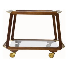 Midcentury Austrian Walnut and Brass Bar Cart