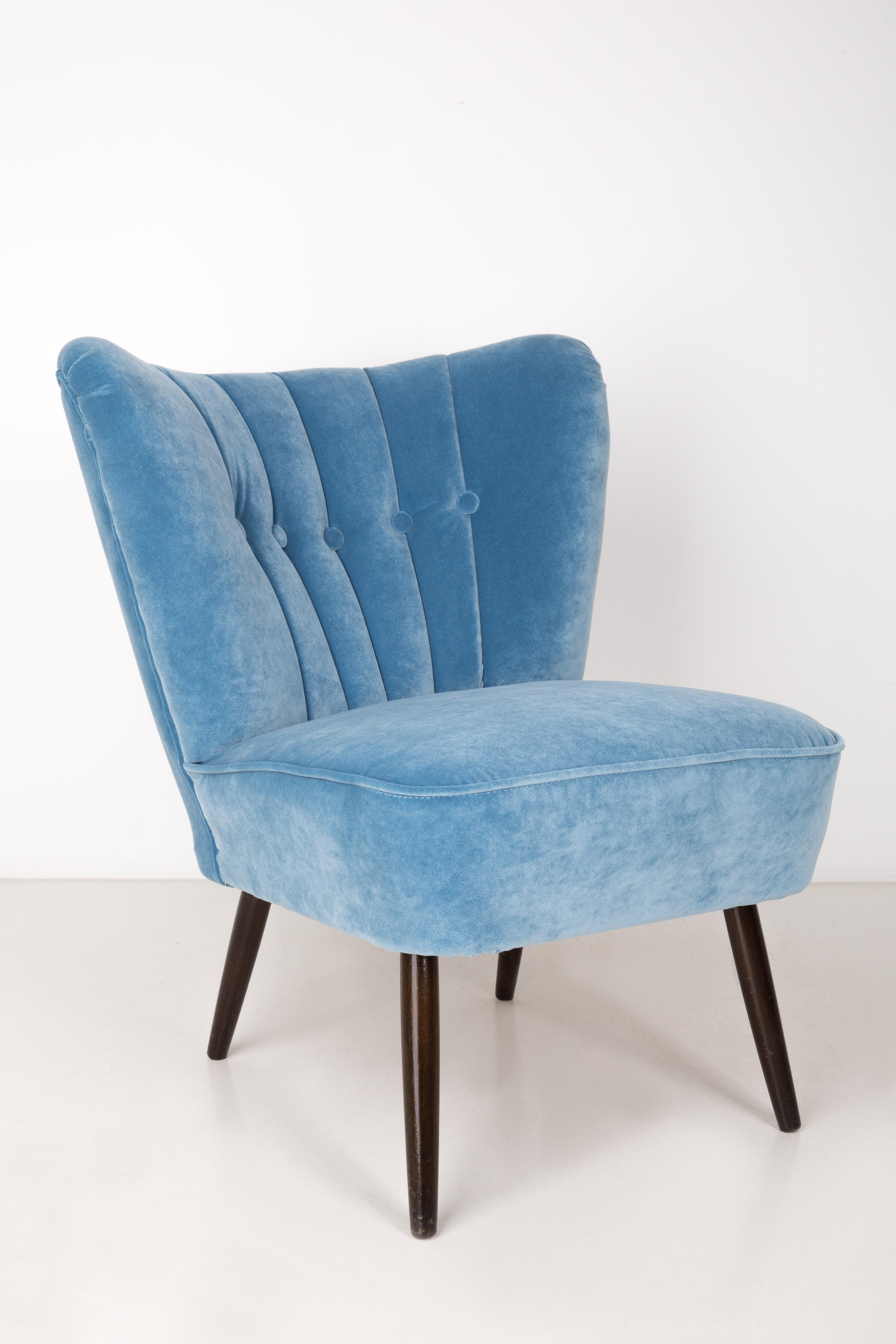 Midcentury Baby Blue Velvet Armchair, Germany, 1960s