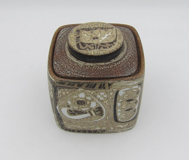 Danish Midcentury BACA Faience Humidor Jar by Nils Thorsson for Royal Copenhagen For Sale