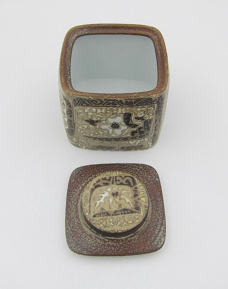 20th Century Midcentury BACA Faience Humidor Jar by Nils Thorsson for Royal Copenhagen For Sale