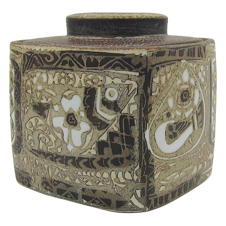 Midcentury BACA Faience Humidor Jar by Nils Thorsson for Royal Copenhagen For Sale