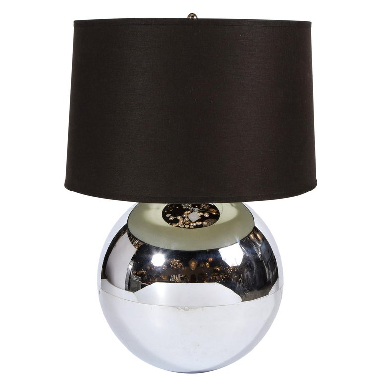 """Midcentury """"Ball"""" Table Lamp in Chrome Documented by Karl Springer For Sale"""