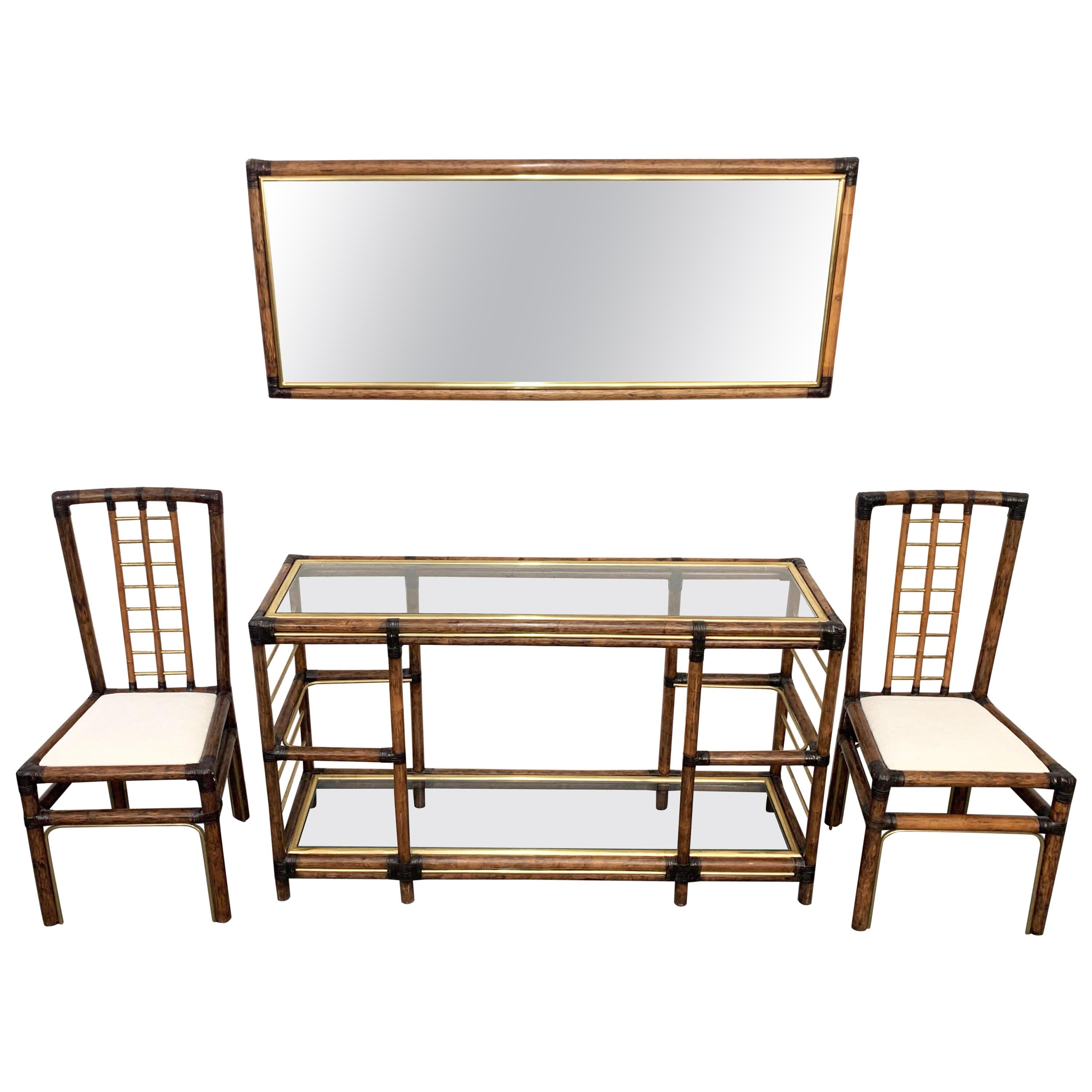 Midcentury Bamboo and Brass Console Table, Wall Mirror and Chairs, Italy, 1980s