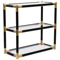 Midcentury Bamboo and Brass Italian Bookcase with Three Crystal Shelves, 1970s