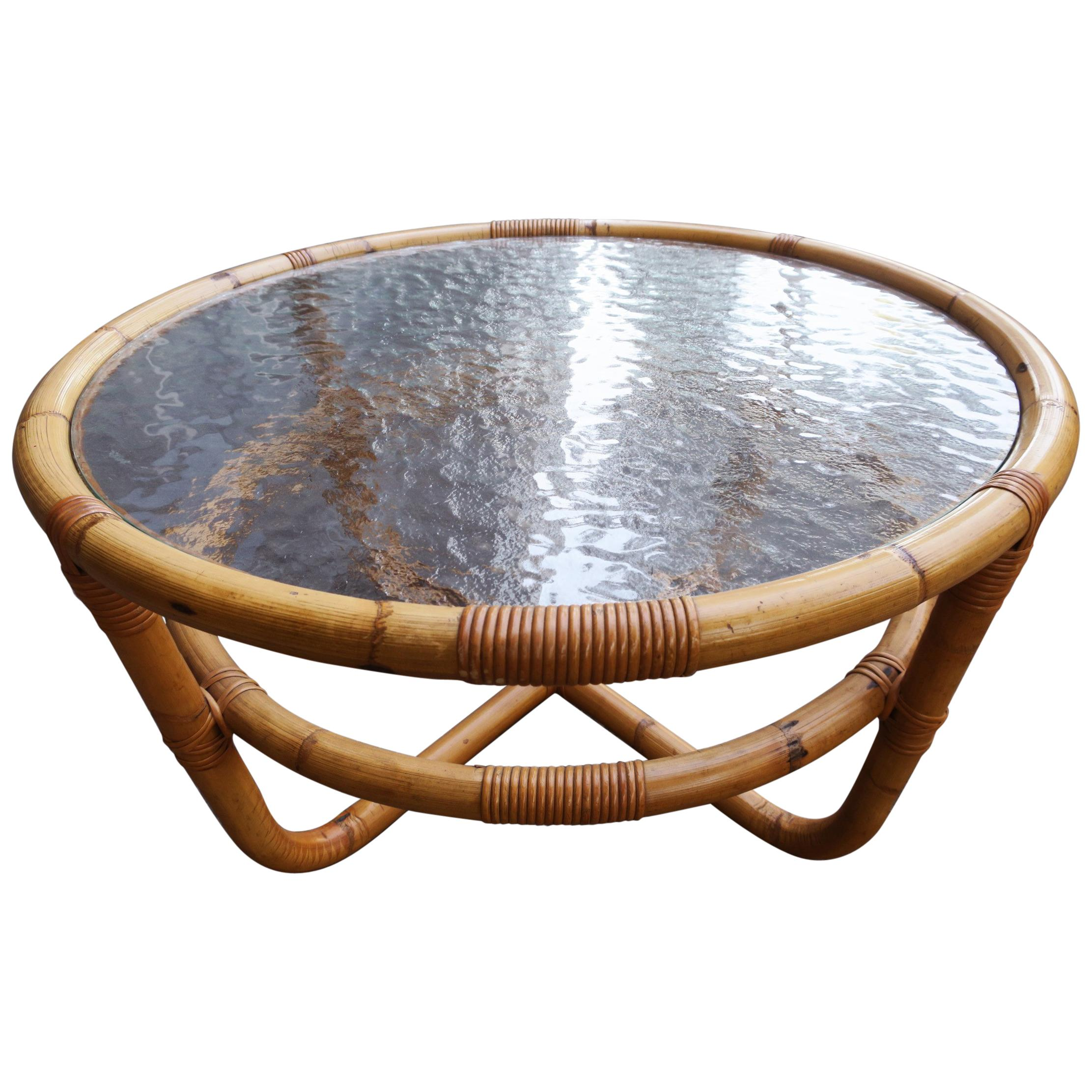 Midcentury Bamboo And Frosted Glass Coffee Table For Sale