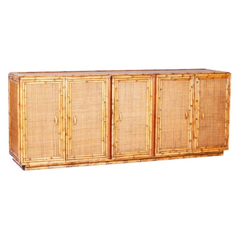 Midcentury Bamboo and Grasscloth Sideboard or Credenza For Sale