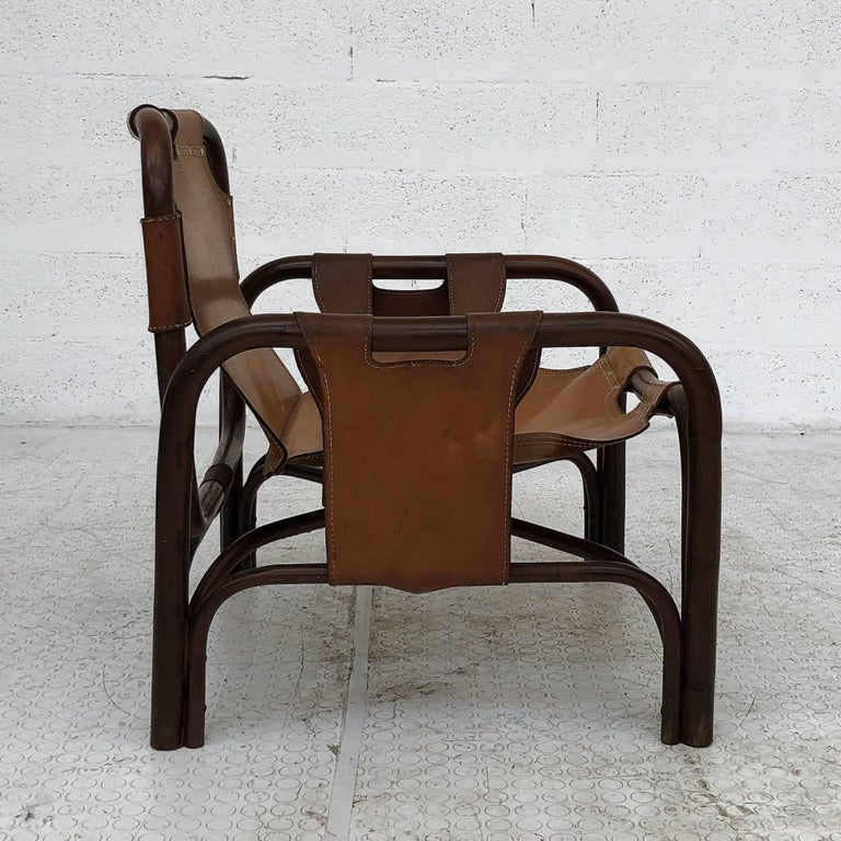 Midcentury Bamboo and Leather Lounge Armchairs by Bonacina, 1963, Set of Two For Sale 4