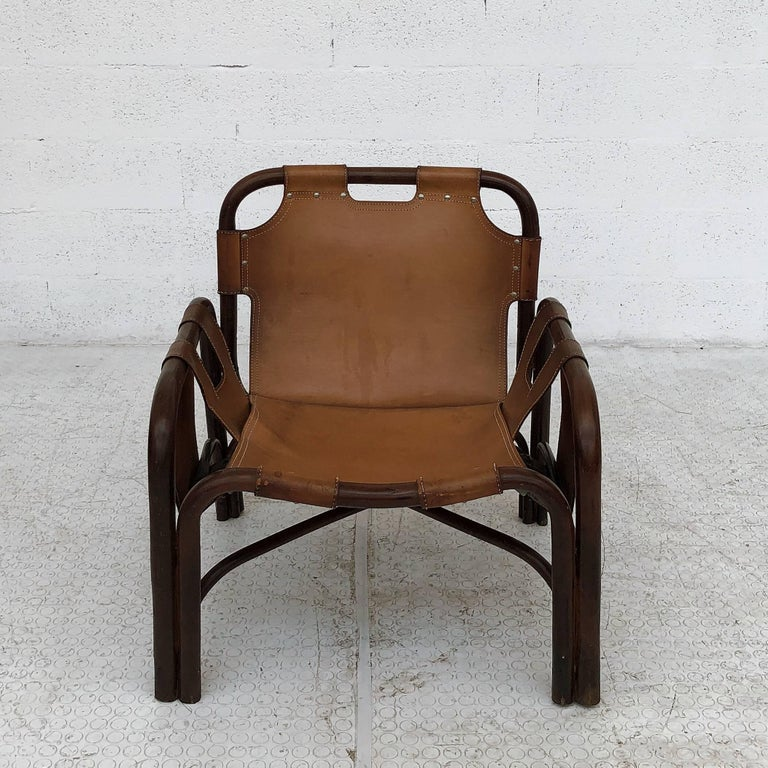 Midcentury Bamboo and Leather Lounge Armchairs by Bonacina, 1963, Set of Two For Sale 5