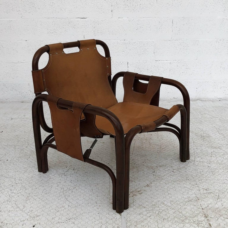 Midcentury Bamboo and Leather Lounge Armchairs by Bonacina, 1963, Set of Two For Sale 9