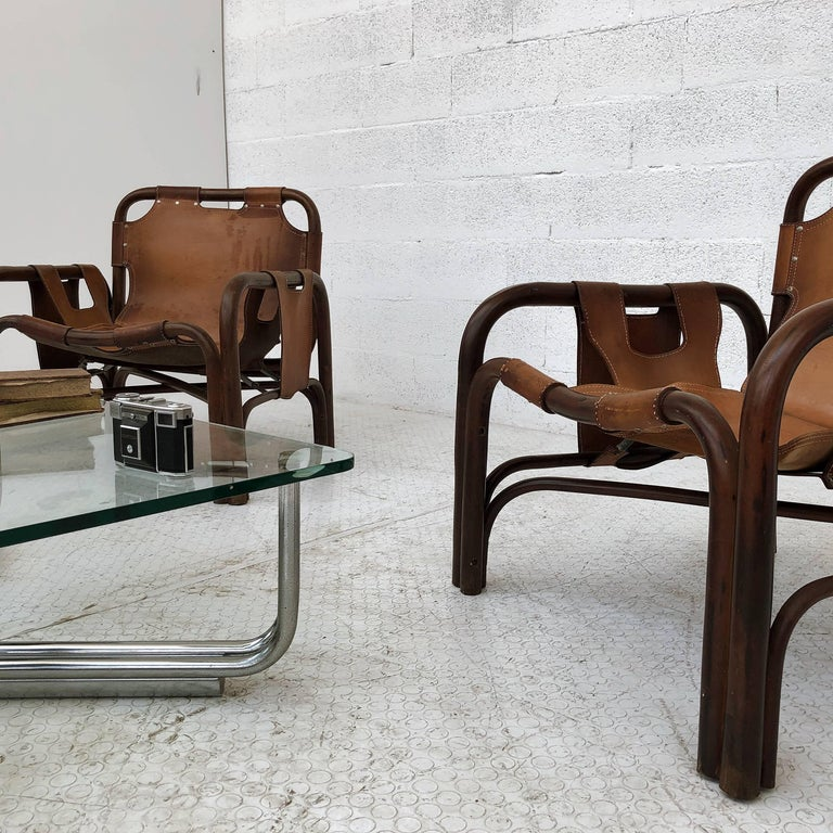 Midcentury Bamboo and Leather Lounge Armchairs by Bonacina, 1963, Set of Two For Sale 11