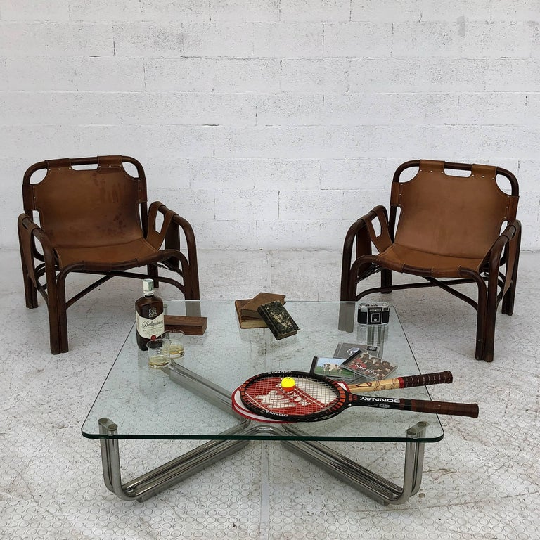 Mid-Century Modern Midcentury Bamboo and Leather Lounge Armchairs by Bonacina, 1963, Set of Two For Sale