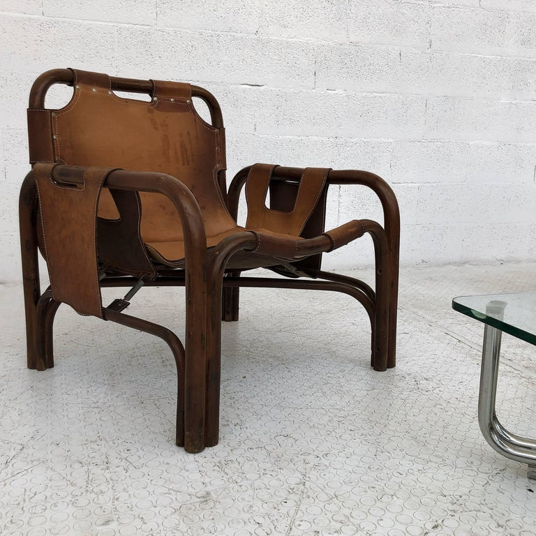 Mid-20th Century Midcentury Bamboo and Leather Lounge Armchairs by Bonacina, 1963, Set of Two For Sale