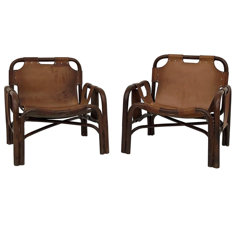 Midcentury Bamboo and Leather Lounge Armchairs by Bonacina, 1963, Set of Two For Sale