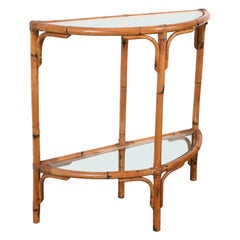 Midcentury Bamboo and Rattan Arched Console in the Style of Albini, 1970s