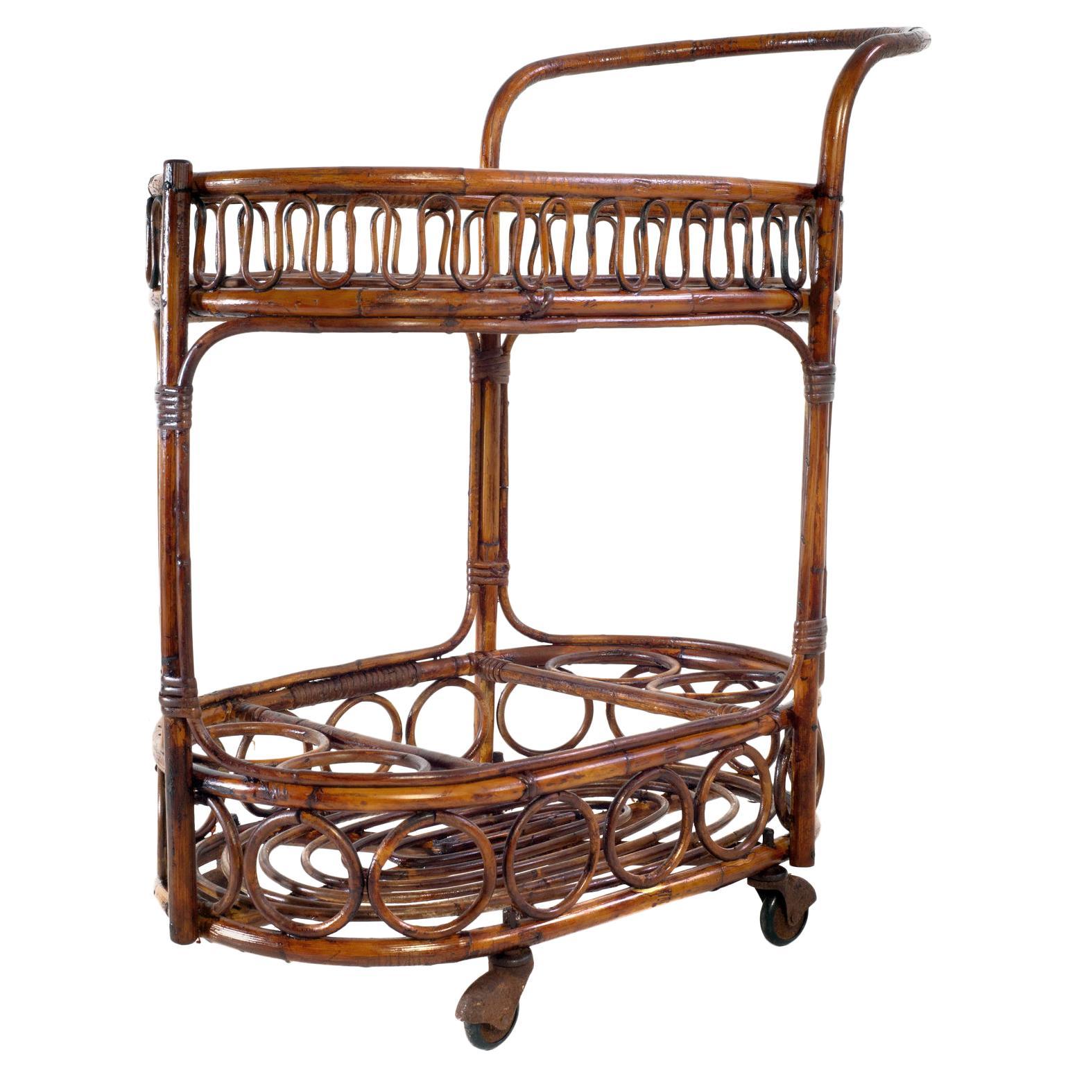 Midcentury Bamboo and Rattan Italian Bar Cart, 1960s