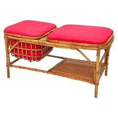 Midcentury Bamboo and Rattan Italian Bench with Box Case, 1950s