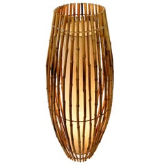 Midcentury Bamboo and Rattan Italian Floor Lamp after Franco Albini, 1960s