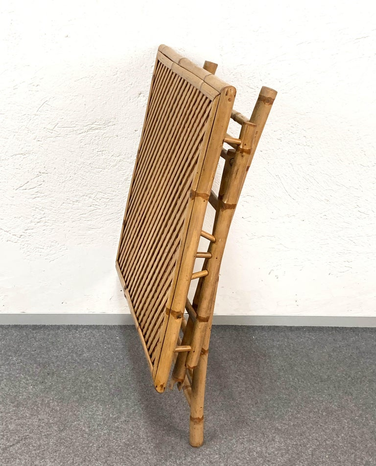 Midcentury Bamboo and Rattan Italian Foldable Table and Four Chairs, 1960s For Sale 5