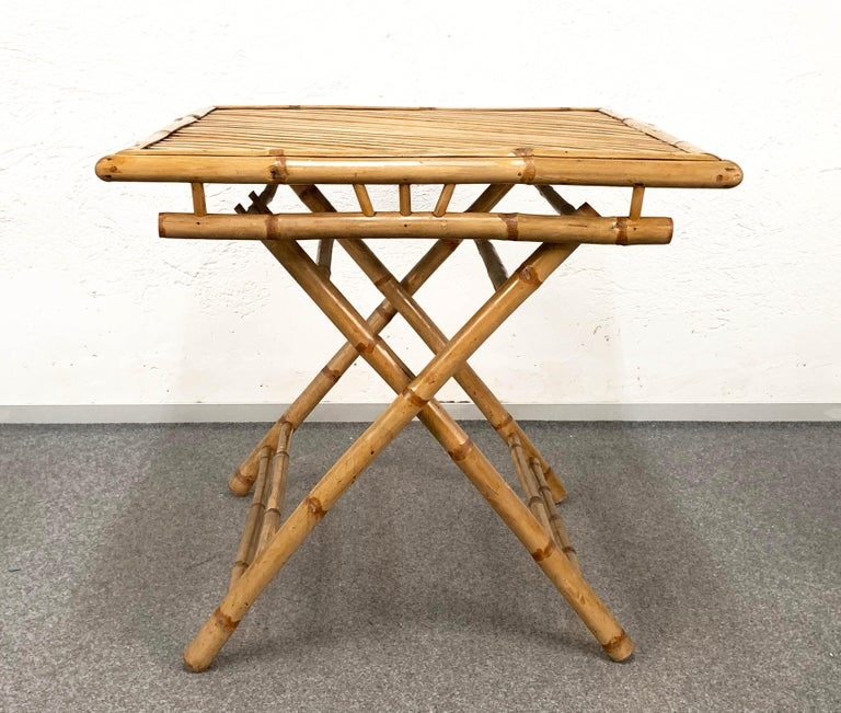 Midcentury Bamboo and Rattan Italian Foldable Table and Four Chairs, 1960s For Sale 6