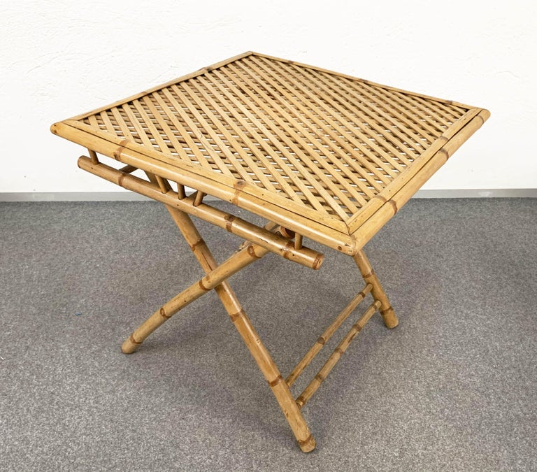 Midcentury Bamboo and Rattan Italian Foldable Table and Four Chairs, 1960s For Sale 7