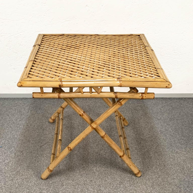 Midcentury Bamboo and Rattan Italian Foldable Table and Four Chairs, 1960s For Sale 8
