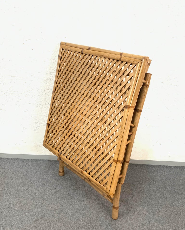 Midcentury Bamboo and Rattan Italian Foldable Table and Four Chairs, 1960s For Sale 9
