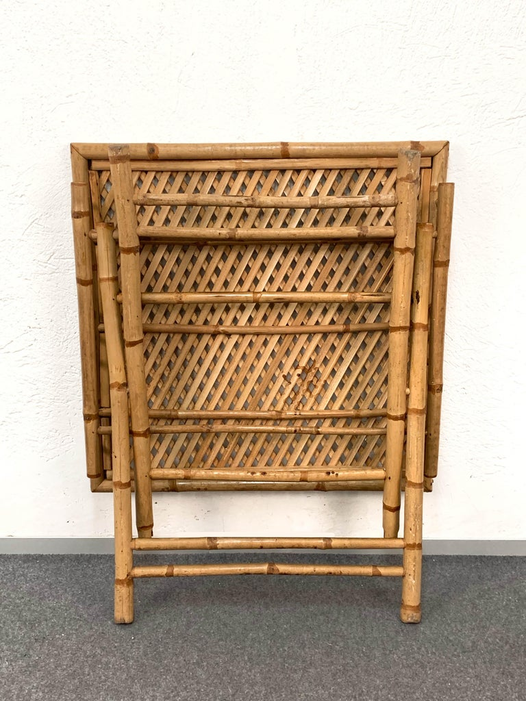 Midcentury Bamboo and Rattan Italian Foldable Table and Four Chairs, 1960s For Sale 10