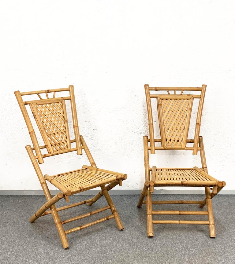 Midcentury Bamboo and Rattan Italian Foldable Table and Four Chairs, 1960s For Sale 11