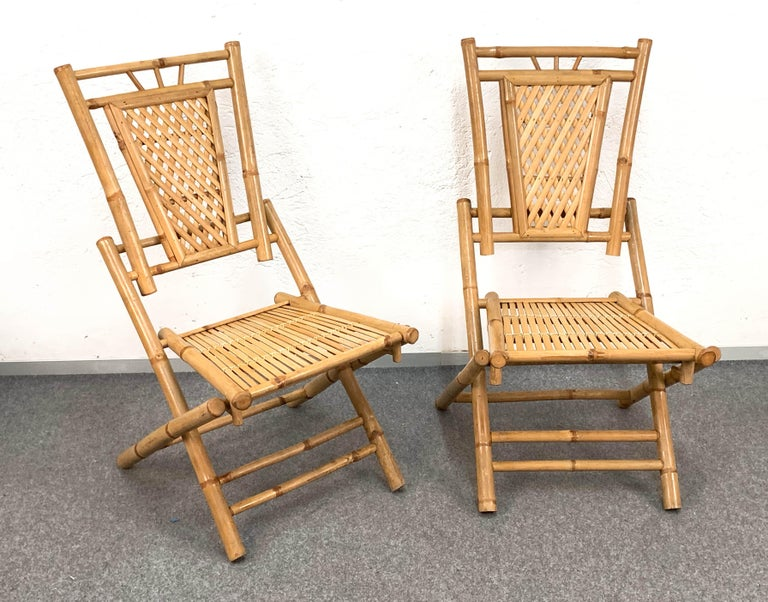 Midcentury Bamboo and Rattan Italian Foldable Table and Four Chairs, 1960s For Sale 12