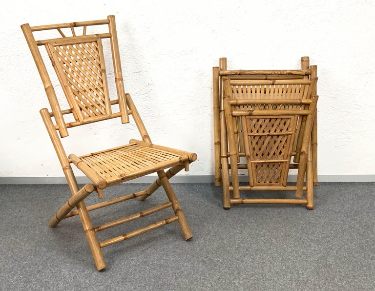 Midcentury Bamboo and Rattan Italian Foldable Table and Four Chairs, 1960s For Sale 13