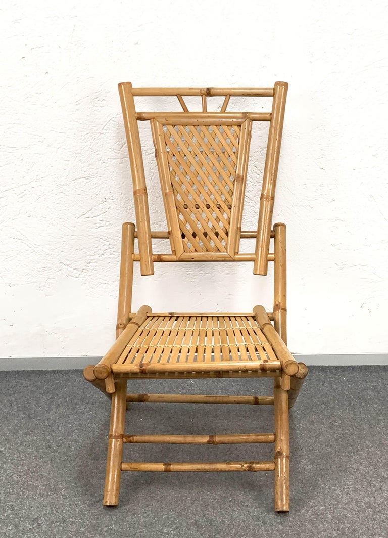 Midcentury Bamboo and Rattan Italian Foldable Table and Four Chairs, 1960s For Sale 14