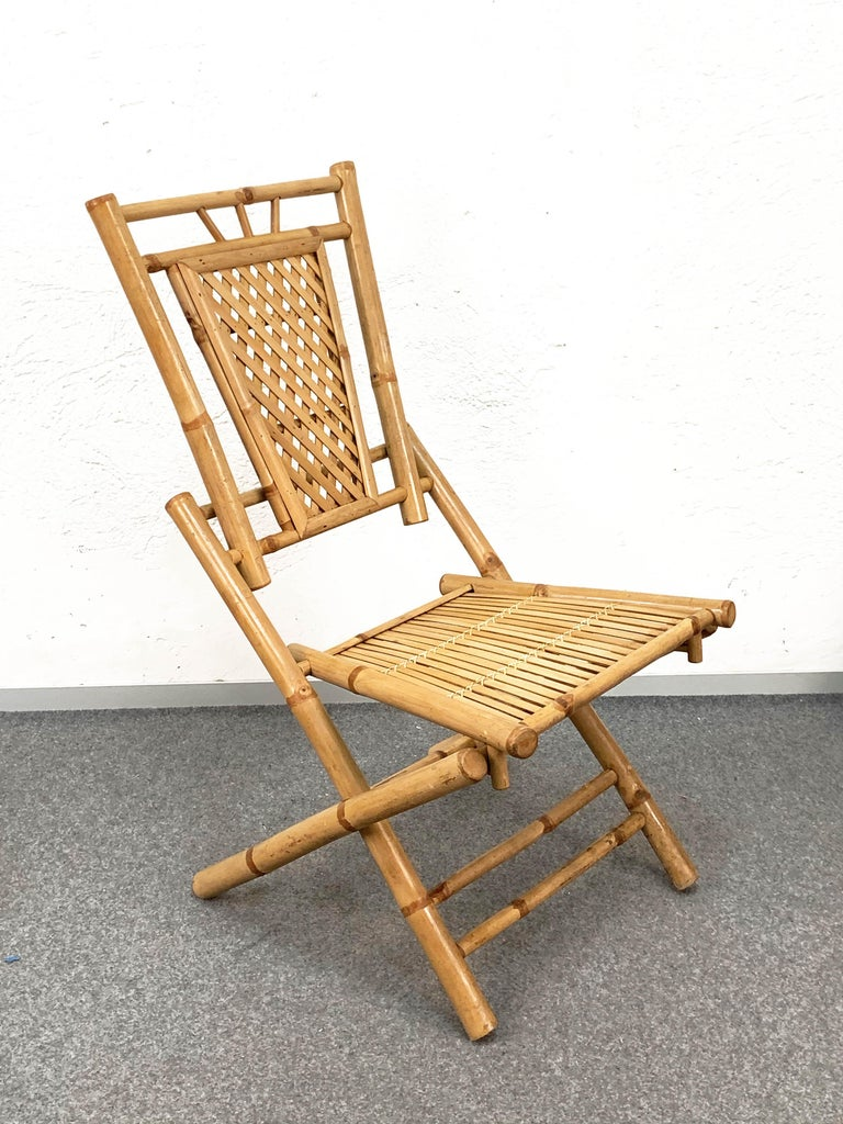 Midcentury Bamboo and Rattan Italian Foldable Table and Four Chairs, 1960s For Sale 15