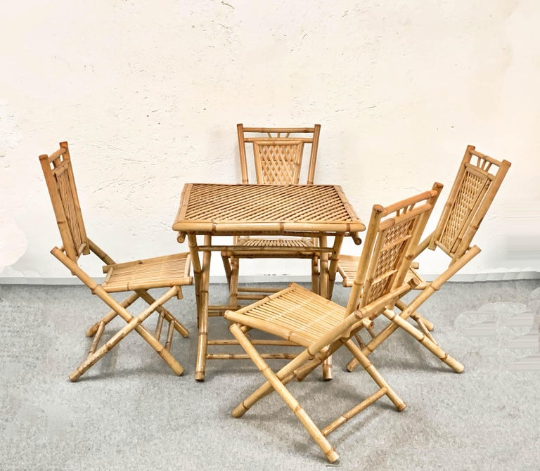 Mid-Century Modern Midcentury Bamboo and Rattan Italian Foldable Table and Four Chairs, 1960s For Sale