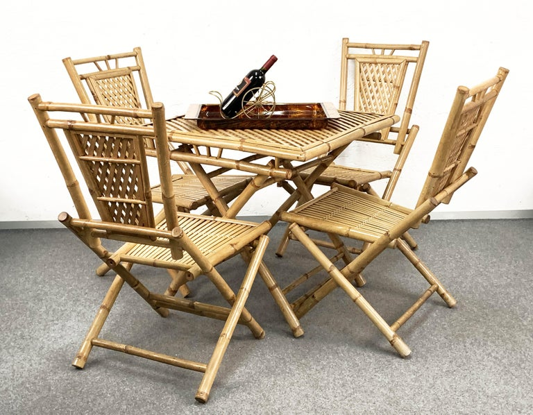 Mid-20th Century Midcentury Bamboo and Rattan Italian Foldable Table and Four Chairs, 1960s For Sale