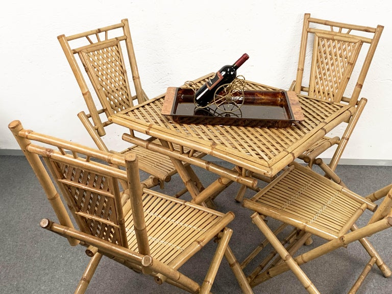Midcentury Bamboo and Rattan Italian Foldable Table and Four Chairs, 1960s For Sale 2