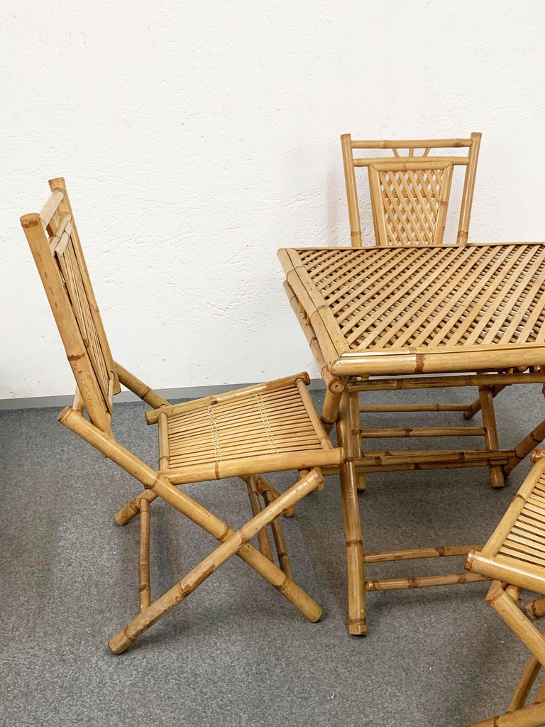 Midcentury Bamboo and Rattan Italian Foldable Table and Four Chairs, 1960s For Sale 3