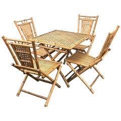 Midcentury Bamboo and Rattan Italian Foldable Table and Four Chairs, 1960s