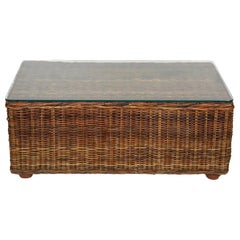 Midcentury Bamboo and Rattan Italian Rectangular Coffee Table, Glass Top, 1970s