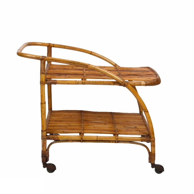 Midcentury Bamboo and Rattan Italian Serving Bar Cart Trolley with Wheels, 1950s For Sale 5