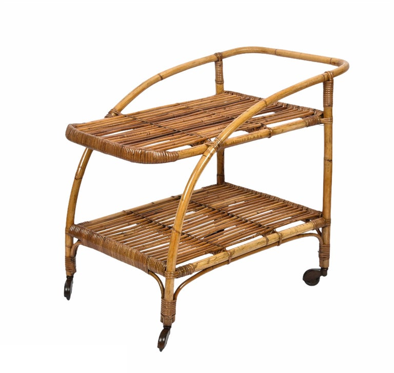 Midcentury Bamboo and Rattan Italian Serving Bar Cart Trolley with Wheels, 1950s For Sale 6