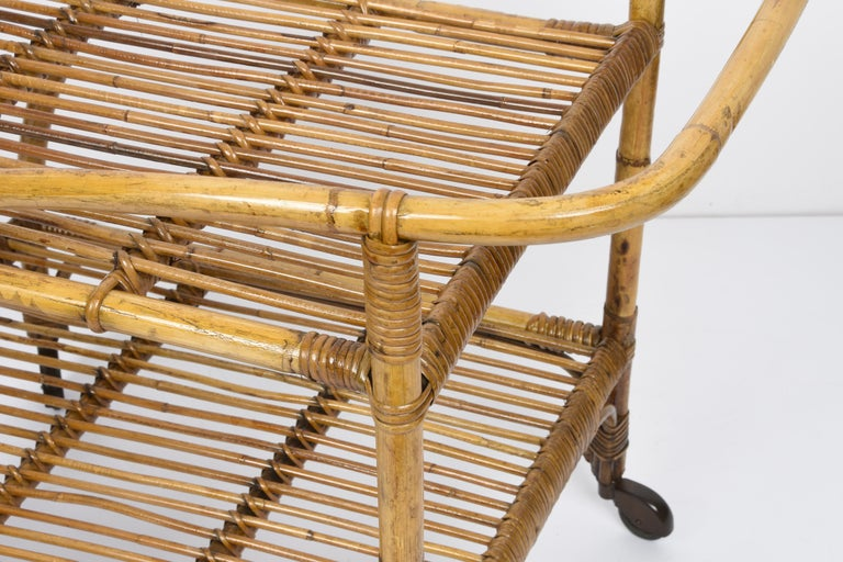 Midcentury Bamboo and Rattan Italian Serving Bar Cart Trolley with Wheels, 1950s For Sale 7